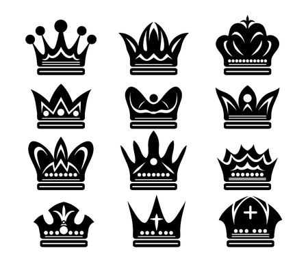 Beauty Crown Set Silhouette, art vector design