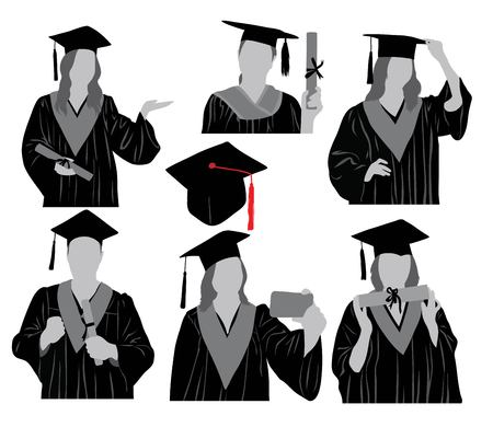 Gradutions Silhouette, art vector design Illustration