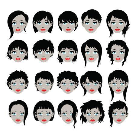 Hair Style silhouettes, art vector design Çizim