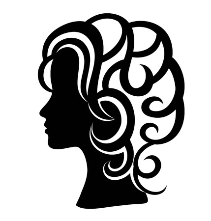 Woman Face Silhouette, art vector design Illustration