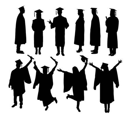 Happy Graduation Activity Silhouettes, art vector design