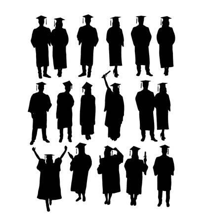 Feliz graduación, siluetas, diseño de arte vectorial