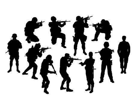 Siluetas de soldado, diseño de arte vectorial
