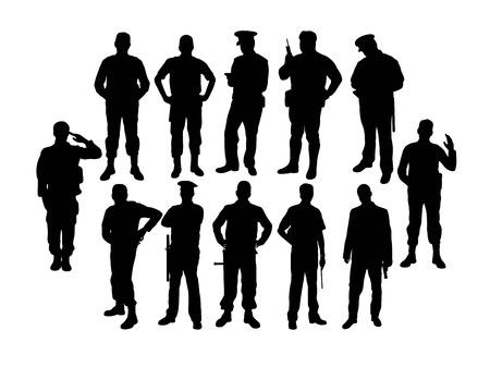 Żołnierz i policja sylwetki, projekt sztuki wektorowej