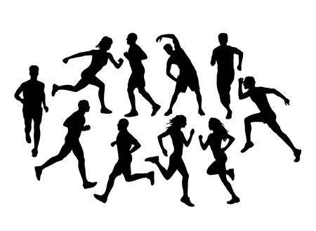 Runners Running Silhouettes, art vector design