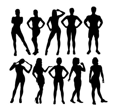 Silhouette of the Activities of Teenage Girls, art vector design