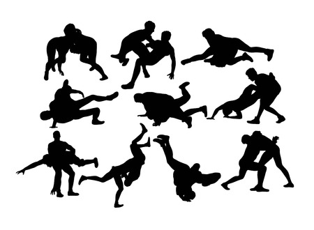 Silhouette di sport di wrestling, disegno vettoriale d'arte
