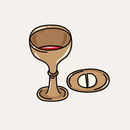 Bread and Wine at the Holy Eucharist, art vector illustration design