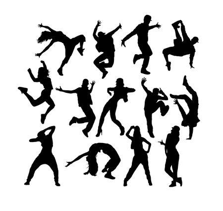 Hip Hop Dancer Silhouettes, art vector design Ilustração