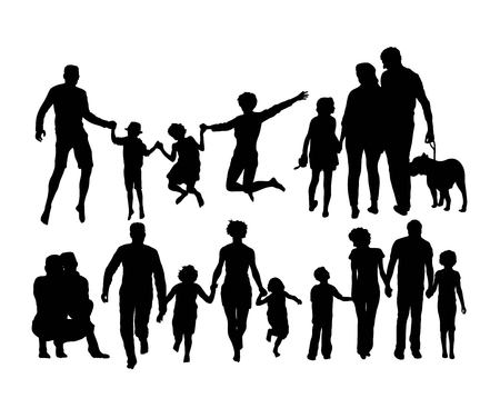 Happy Family Silhouettes, art vector design Banque d'images - 110203776