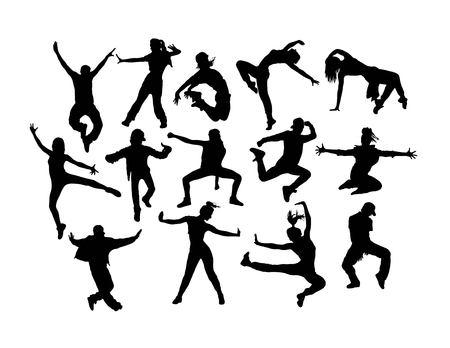 Happy Hip Hop Silhouettes, art vector design Banque d'images - 110203777
