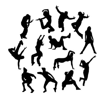 Happy Dancing Silhouettes, art vector design  イラスト・ベクター素材