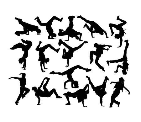 Siluetas de bailarina feliz, diseño de arte vectorial