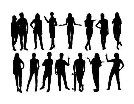 Standing People Silhouette, art vector design