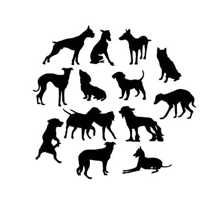 Dog Silhouettes, art vector design Banque d'images - 117470609