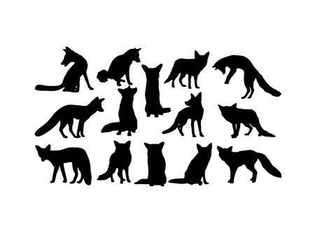 Fox Animal Silhouettes, art vector design