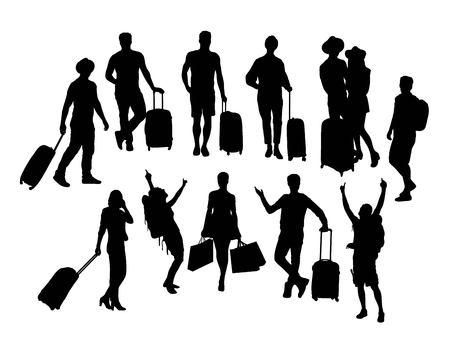Tourist Activity People Silhouettes, art vector design Illustration