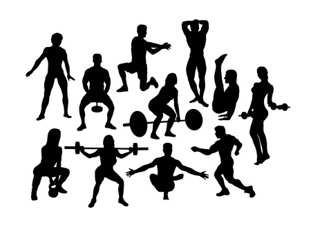 Weightlifting Sport Silhouettes, art vector design Banque d'images - 117470614