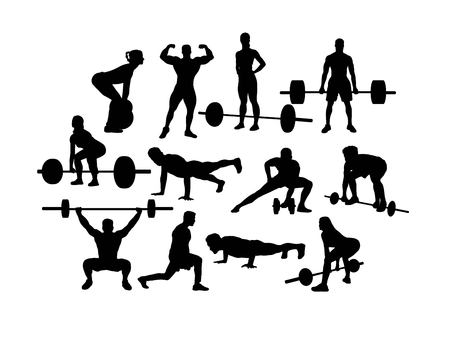 Weightlifting Silhouettes, art vector design Banque d'images - 117470615