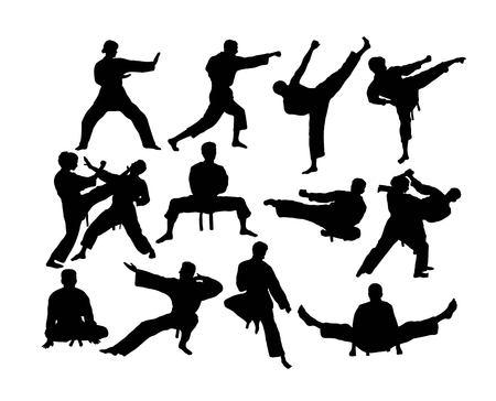 Karate Silhouettes Activity, art vector design Çizim