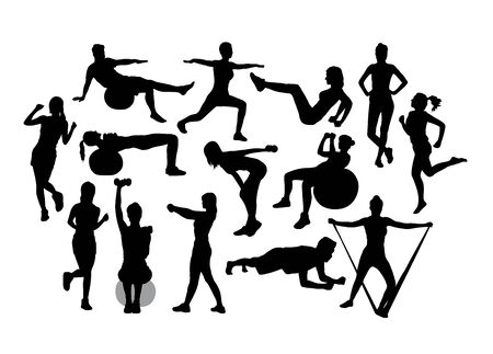 Fitness and Gym Activity Silhouettes, art vector design