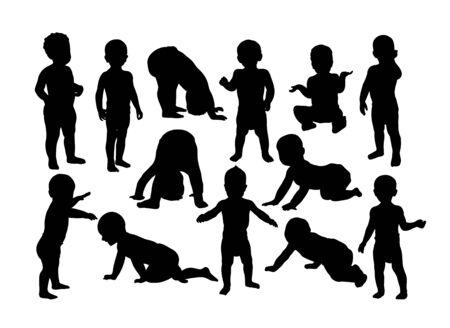 Cute Baby Silhouettes, art vector design Vektorové ilustrace
