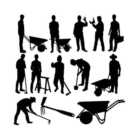 Siluetas de granjero y trabajador, diseño de arte vectorial Ilustración de vector
