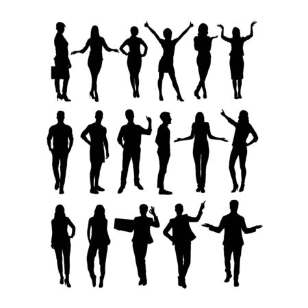 Activity and Standing Silhouettes, art vector design