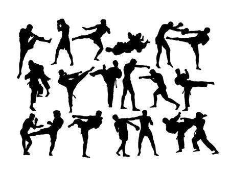 Martial Art Competition Silhouettes, art vector design Archivio Fotografico - 131445372