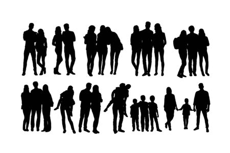 Student and Family Activity Silhouettes, art vector design 일러스트