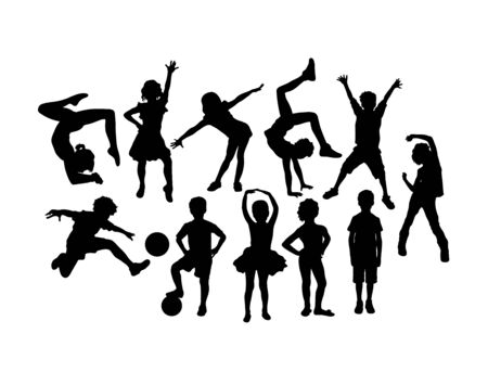 Happy Children and Kid Plying Silhouettes, art vector design Archivio Fotografico - 131445473