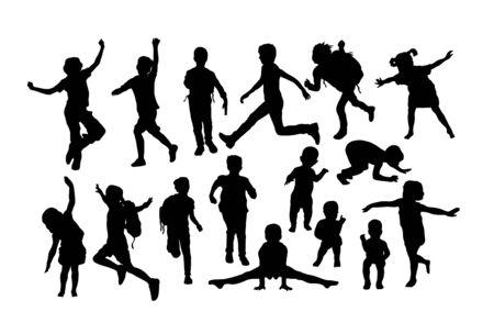 Happy Children and Kid Plying Silhouettes, art vector design Archivio Fotografico - 131445474