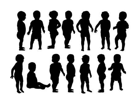 Cute Baby Activity Silhouettes, art vector design Archivio Fotografico - 131445476