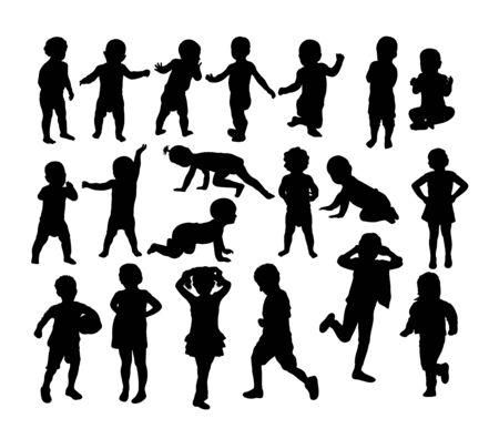 Silhouettes de bébé et d'enfants, conception de vecteur d'art