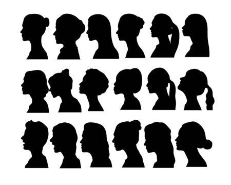 woman Face Avatar Silhouettes, art vector design Archivio Fotografico - 131445520