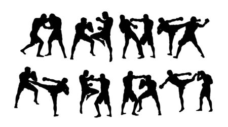 Boxing and Competition Silhouettes, art vector design
