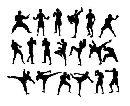 Boxing Camp Activity Silhouettes, art vector design Ilustração