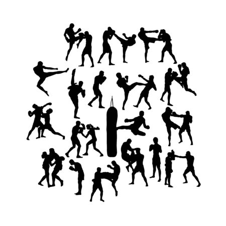 Boxing Camp Activity Silhouettes, art vector design Archivio Fotografico - 131445527