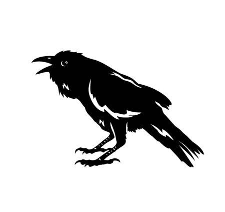 Raven Bird Silhouette, art vector design Archivio Fotografico - 131445530