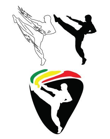 Judo Line Art, Silhouette and Logo, art vector design Archivio Fotografico - 131445667