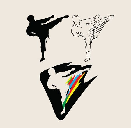 Judo Line Art, Silhouette and Logo, art vector design Archivio Fotografico - 131445671