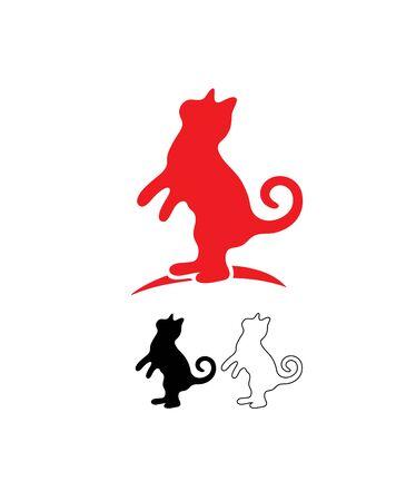 Red Cat Logo, Line and Silhouette, art vector design Archivio Fotografico - 131445674