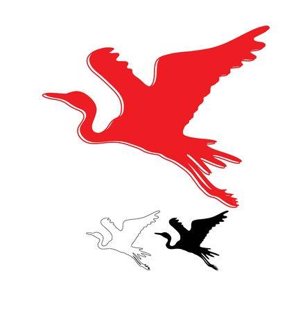 Heron Line, Silhouette and Logo, art vector design Archivio Fotografico - 131445676