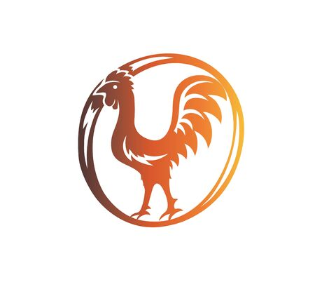 Rooster Logo Template, art vector design Archivio Fotografico - 131445860