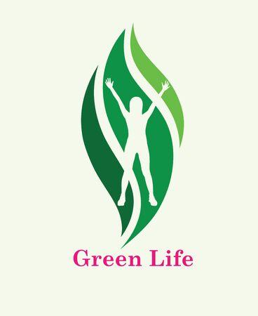 Green Life Logo, art vector design Archivio Fotografico - 131445866