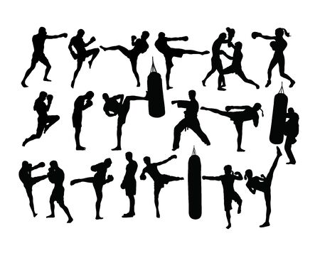 Boxing Sport Silhouettes Activity, art vector design Illustration