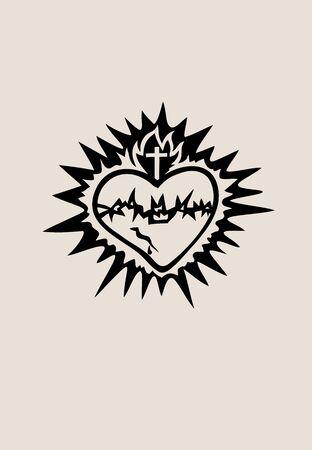 The Sacred Heart of Jesus, art vector design Archivio Fotografico - 131445872