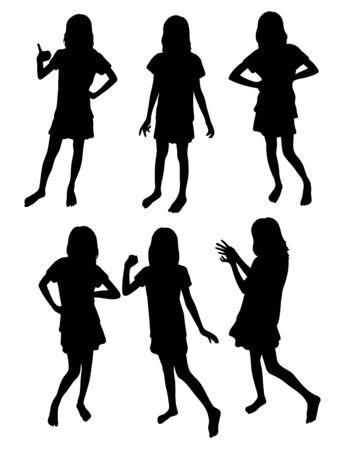 Girl Silhouettes, art vector design Archivio Fotografico - 131445960