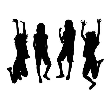 Happy Jumping Girl Silhouettes, art vector design 일러스트