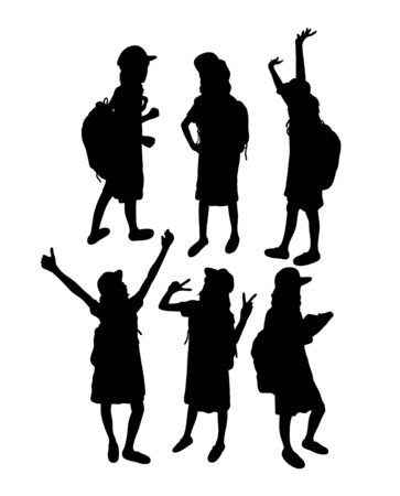 Girl With Thumbs Up Silhouettes, art vector design Archivio Fotografico - 131445967